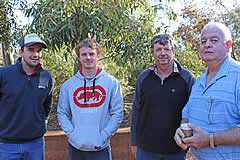 Attendees at the Hovell Stud, SRSB event, Profitable Farming Systems. Sam Schilg, Darcy I'Anson, Matthew I'Anson, Brendan O'Connor.